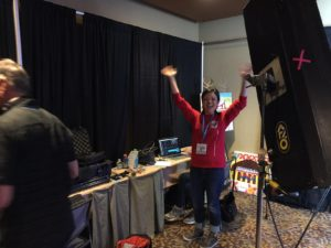 Our very own Char, behind the scenes, doing production at a live event.
